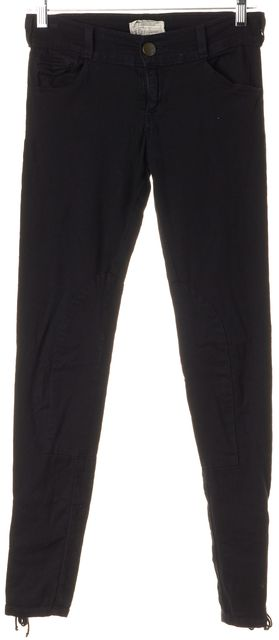 CURRENT ELLIOTT Black Ankle Lace Tied Mid-Rise Super Skinny Jeans