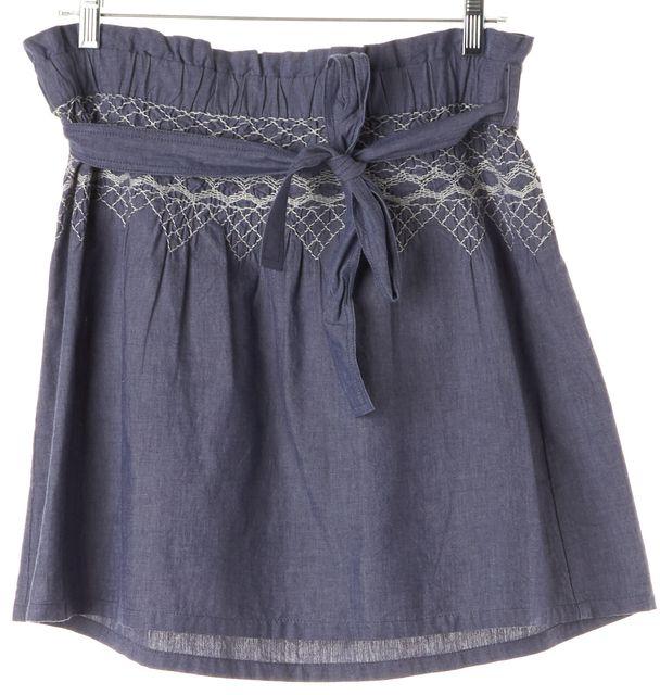 CURRENT ELLIOTT Blue White Embroidered Belted A-Line Paper Bag Skirt