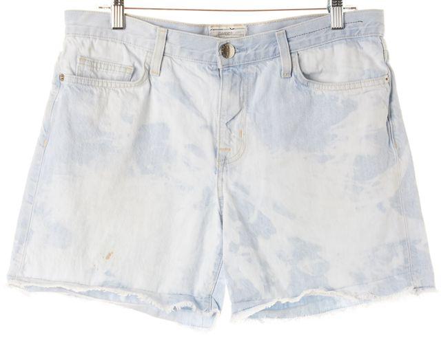 CURRENT ELLIOTT Blue Acid Wash Cotton Denim Boyfriend Roll Shorts
