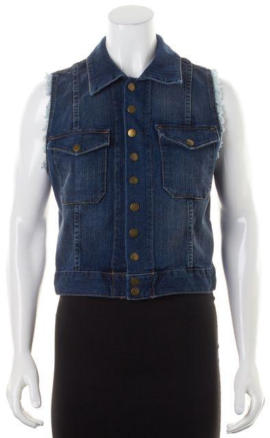 CURRENT ELLIOTT Loved Blue Denim The Sleeveless Snap Jacket Vest