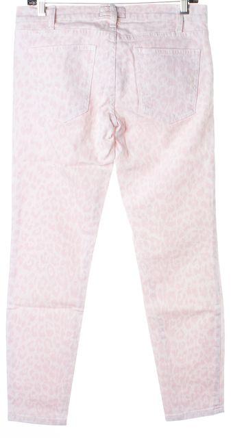 CURRENT ELLIOTT Pink Rose White Leopard Print The Stiletto Skinny Jeans