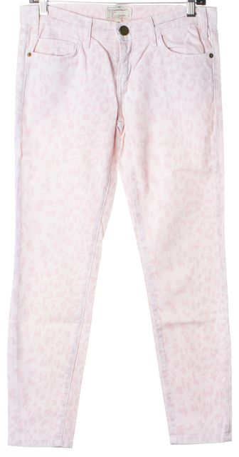 CURRENT ELLIOTT Pink Rose White Leopard Print The Stiletto Skinny Jeans