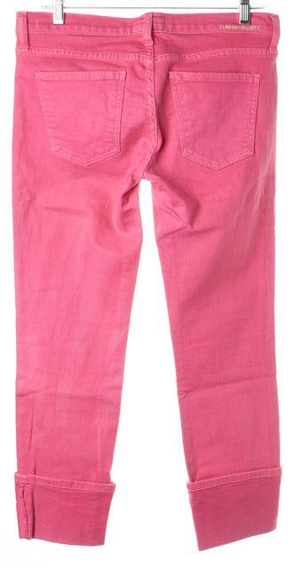 CURRENT ELLIOTT Faded Rose Pink Cuffed The Beatnik Slim Cropped Jeans