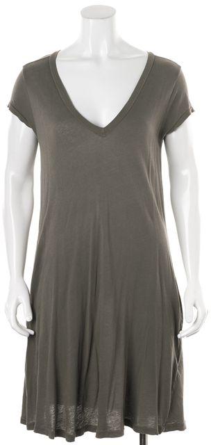 CURRENT ELLIOTT Army Green Cotton V-Neck Trapeze Shift Dress