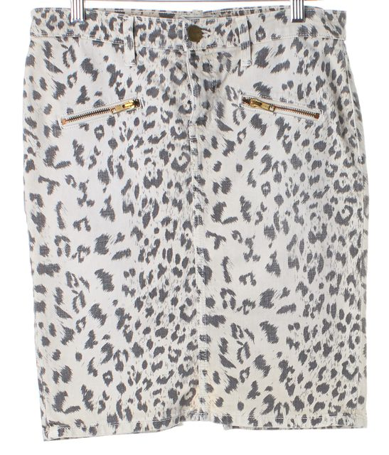CURRENT ELLIOTT Beige Stone Leopard The Soho Zip Stiletto Pencil Skirt