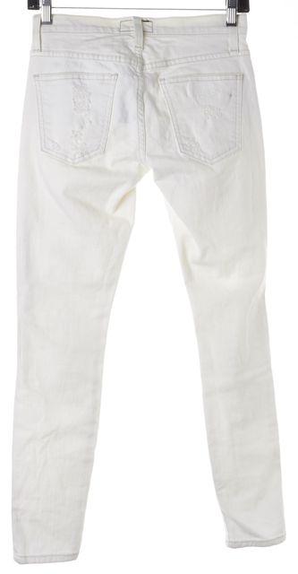 CURRENT ELLIOTT White Super Salty Repair Distressed The Stiletto Jeans