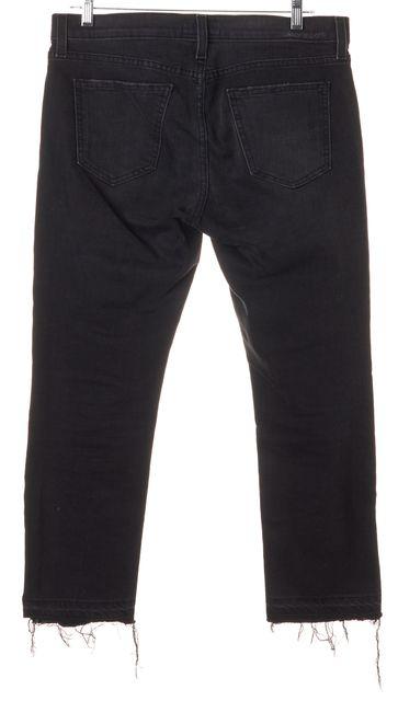 CURRENT ELLIOTT Black The Cropped Straight Leg Released Hem Jeans
