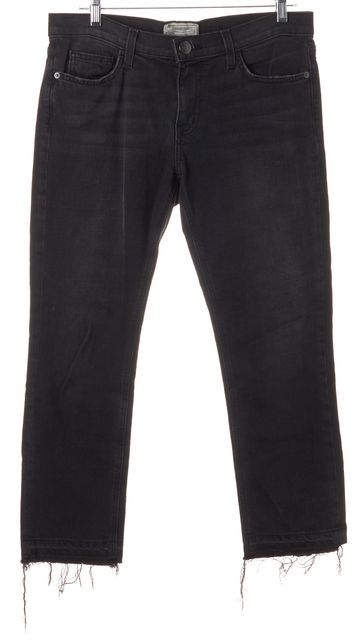 CURRENT ELLIOTT Black The Cropped Straight Leg Released Hem Jeans