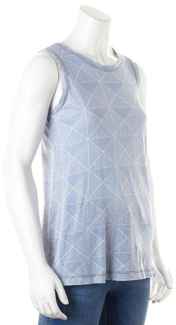 CURRENT ELLIOTT Blue White Diamonder Muscle Tee Top
