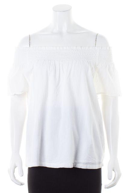 CURRENT ELLIOTT White Cotton Off-Shoulder Blouse Top