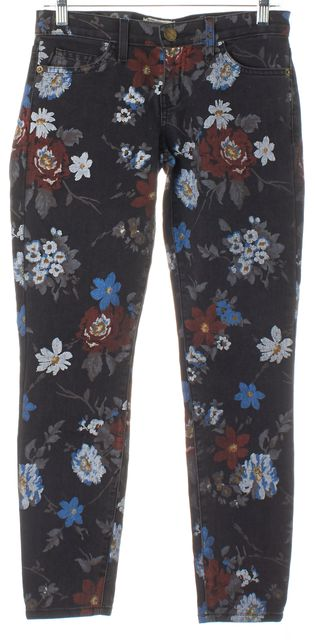 CURRENT ELLIOTT Black Wildflower The Stiletto Cropped Skinny Jeans