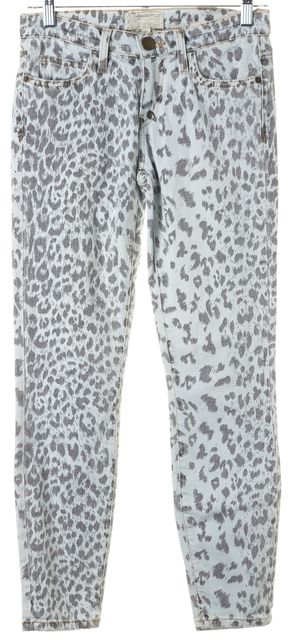 CURRENT ELLIOTT Bleached Out Blue Leopard Stiletto Skinny Jeans