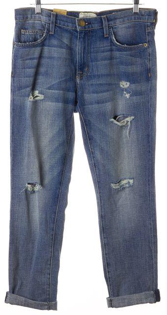CURRENT ELLIOTT Blue Distressed Fling Slim Boyfriend Jeans