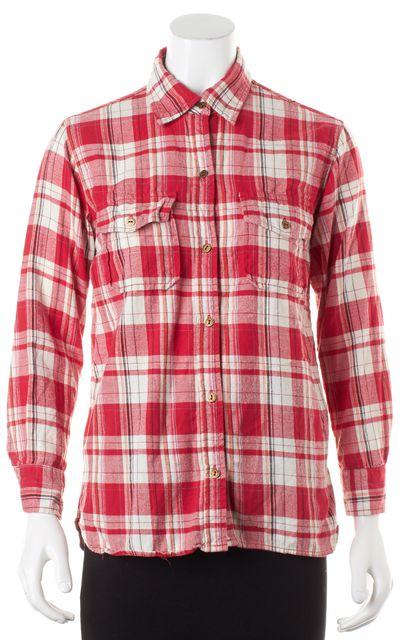 CURRENT ELLIOTT Red Plaid Flannel Cotton Button Down Shirt Top