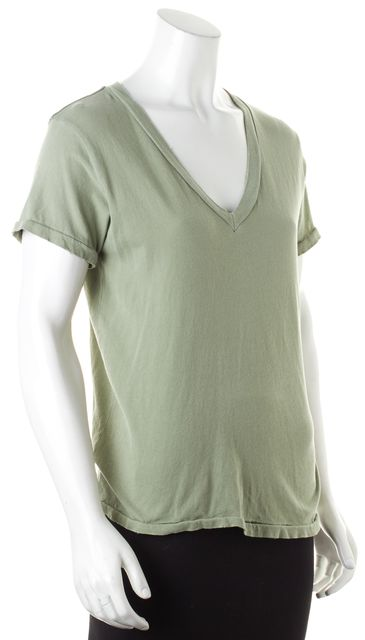 CURRENT ELLIOTT Sea Forest Green Cotton Jersey V-Neck Tee T-Shirt