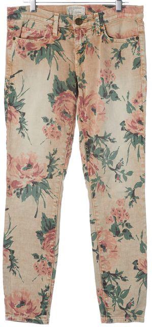 CURRENT ELLIOTT Haystack Beige Floral Stiletto Skinny Jeans
