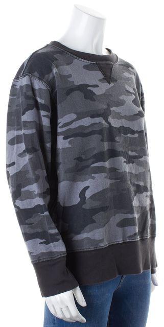 CURRENT ELLIOTT Faded Black Camouflage Stadium Zips Crewneck Sweater