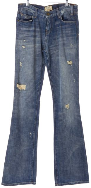 CURRENT ELLIOTT Blue The Cowboy Distressed Boot Cut Jeans