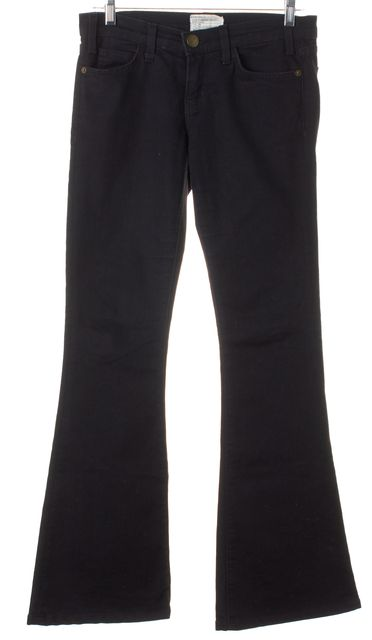 CURRENT ELLIOTT Black Stretch Cotton Low Bell Flare Jeans