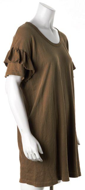 CURRENT ELLIOTT Stone Grey The Ruffle Roadie Dress