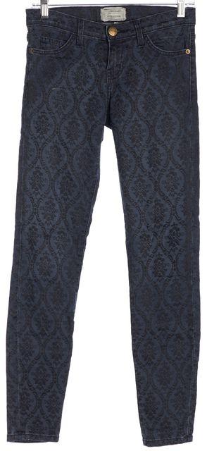 CURRENT ELLIOTT Blue Vintage Brocade Ankle Skinny Jeans
