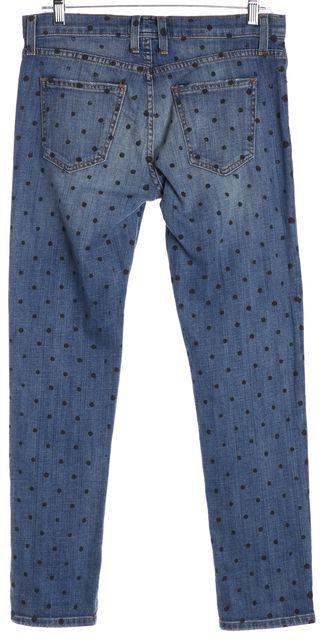 CURRENT ELLIOTT Blue Indigo Polka Dot Revival Fling Slim Boyfriend Jeans