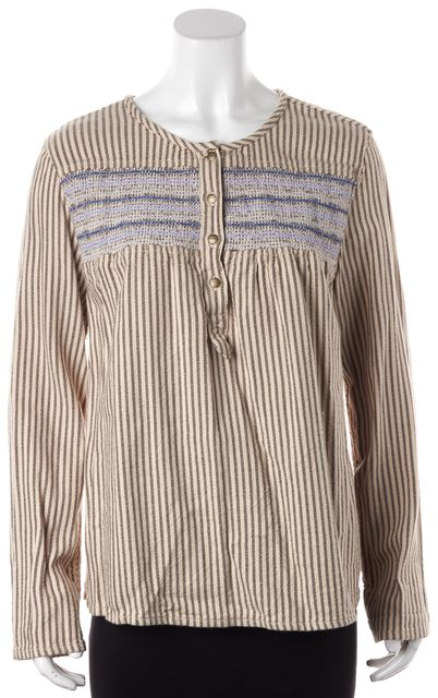 CURRENT ELLIOTT Beige Striped Embroidered Knit Top Blouse Size 3 US