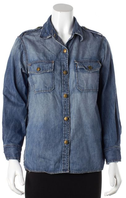 CURRENT ELLIOTT Blue Denim Button Down Shirt Top