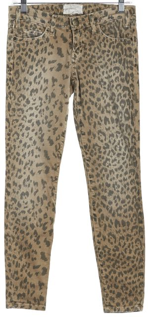 CURRENT ELLIOTT Beige The Stiletto Camel Leopard Print Skinny Jeans