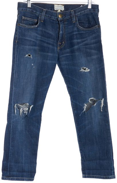 CURRENT ELLIOTT Blue The Boyfriend Classic Rise Distressed Jeans