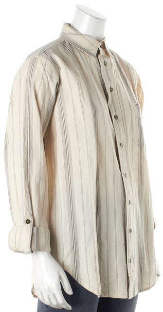 CURRENT ELLIOTT Beige Gray Striped The Prep School Shirt Rolled