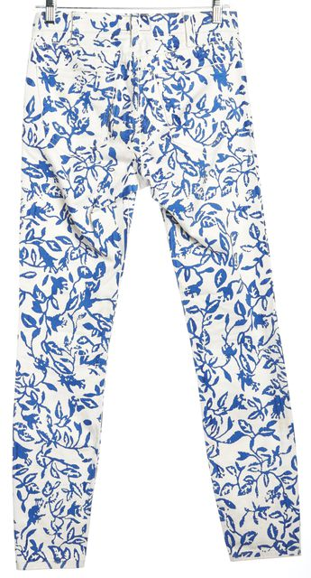 CURRENT ELLIOTT White Blue Floral Skinny Jeans