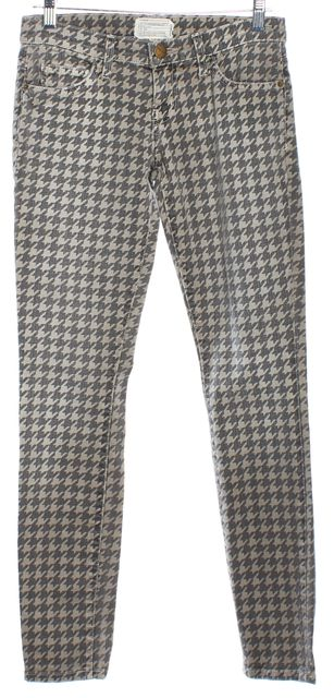 CURRENT ELLIOTT Gray Houndstooth Skinny Ankle Jeans