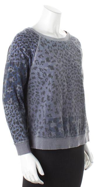 CURRENT ELLIOTT Gray Mixed Leopard The Letterman Knit Top Sweatshirt