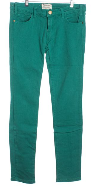 CURRENT ELLIOTT Emerald Green Mid-Rise Skinny Ankle Jeans