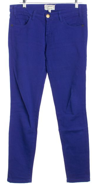 CURRENT ELLIOTT Royal Blue Mid-Rise Skinny Ankle Jeans
