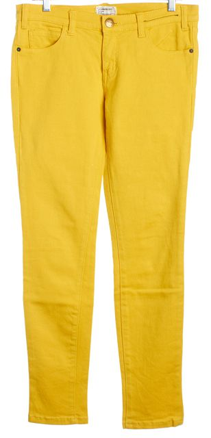 CURRENT ELLIOTT Taxi Yellow Mid-Rise Skinny Ankle Jeans