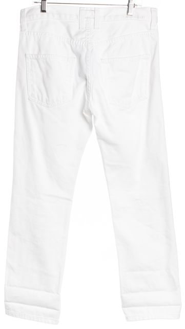 CURRENT ELLIOTT White Distressed Cropped Capri Jeans