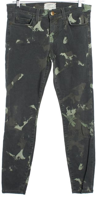 CURRENT ELLIOTT Camo Green Stiletto Skinny Cropped Ankle Jeans