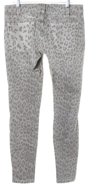 CURRENT ELLIOTT Gray Leopard Low-Rise Skinny Jeans