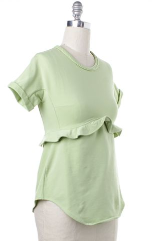 CARVEN Light Green Cotton Ruffle Top