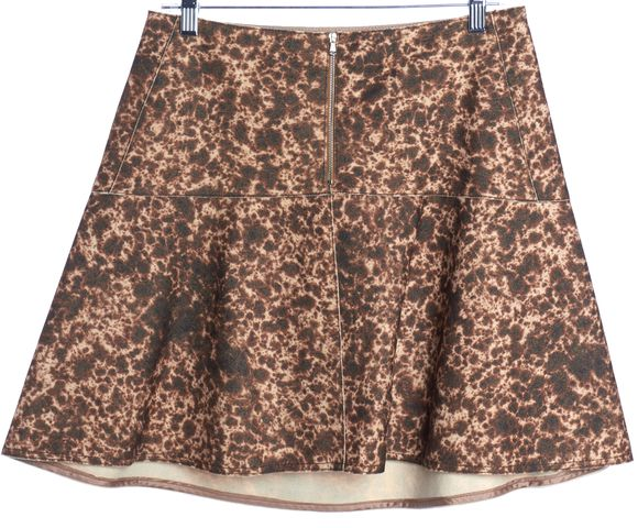CARVEN Brown Beige Abstract Wool A-Line Skirt