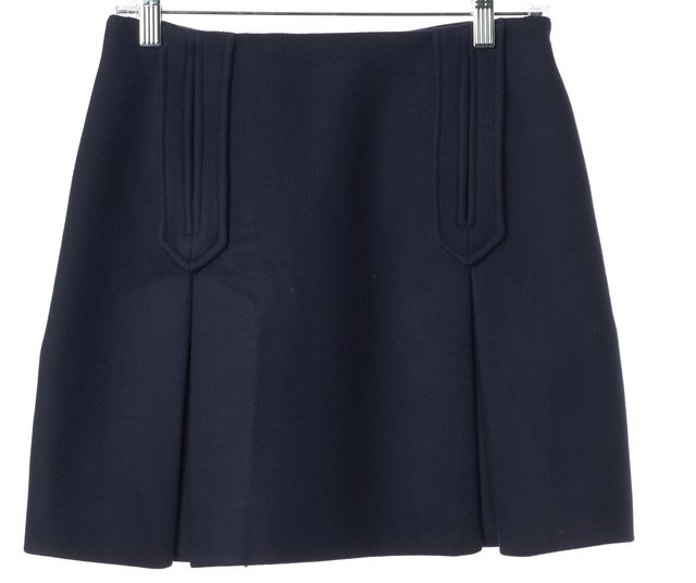 CARVEN Navy Blue Wool Pocket Front Pleated A-Line Mini Skirt