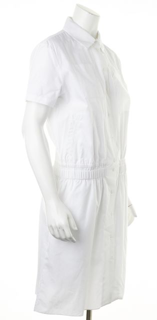 CARVEN White Sheath Short Sleeve Dress