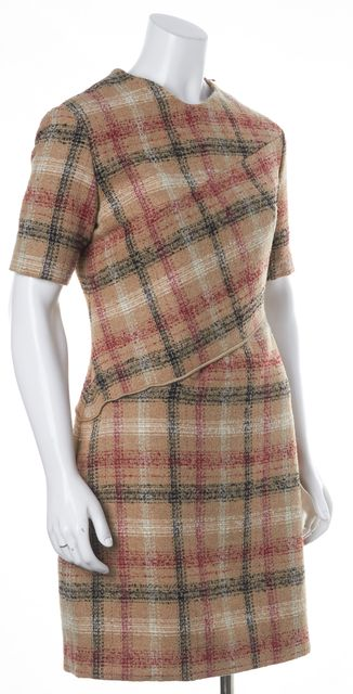 CARVEN Beige Red Tweed Zipped Fit & Flare Dress