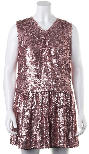 CARVEN Pink Rose Pale Sequin Embellished Sleeveless Blouson Dress