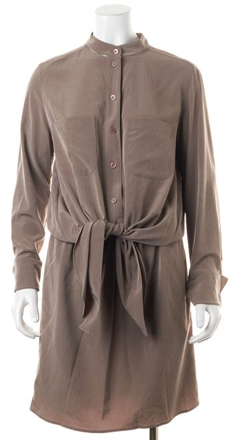 CARVEN Brown Button Front Above Knee Blouson Dress