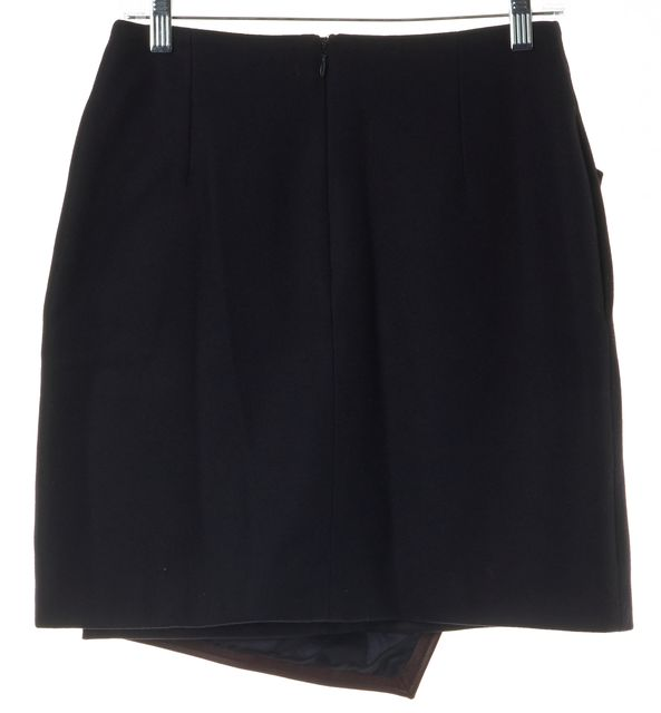 CARVEN Blue Burgundy Colorblock Leather Wool Asymmetrical Skirt