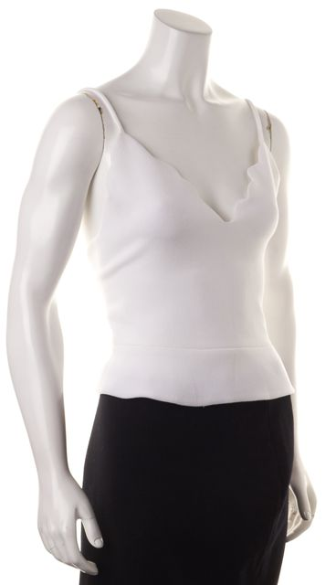 CARVEN White Scalloped Edges Cropped Low Cut Tank Top