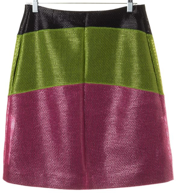 CARVEN Black Green Pink Coated Cotton Jupe Resille A-Line Skirt